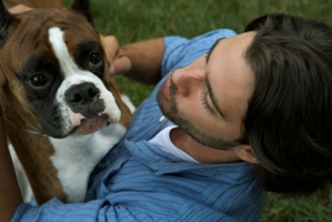 Man and Boxer Dog
